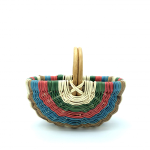 Basket on natural rattan hoops