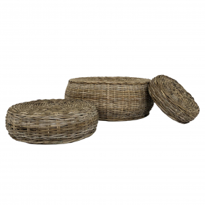 Ensemble de 3 poufs gris en rotin naturel