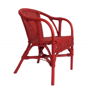 Red chair for children in natural rattan