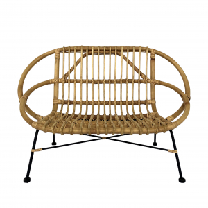 Natural rattan child's bench with metal base